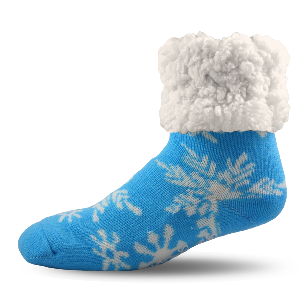 Pudus Slipper Socks - Snowflake Blue - Lounge Beauties