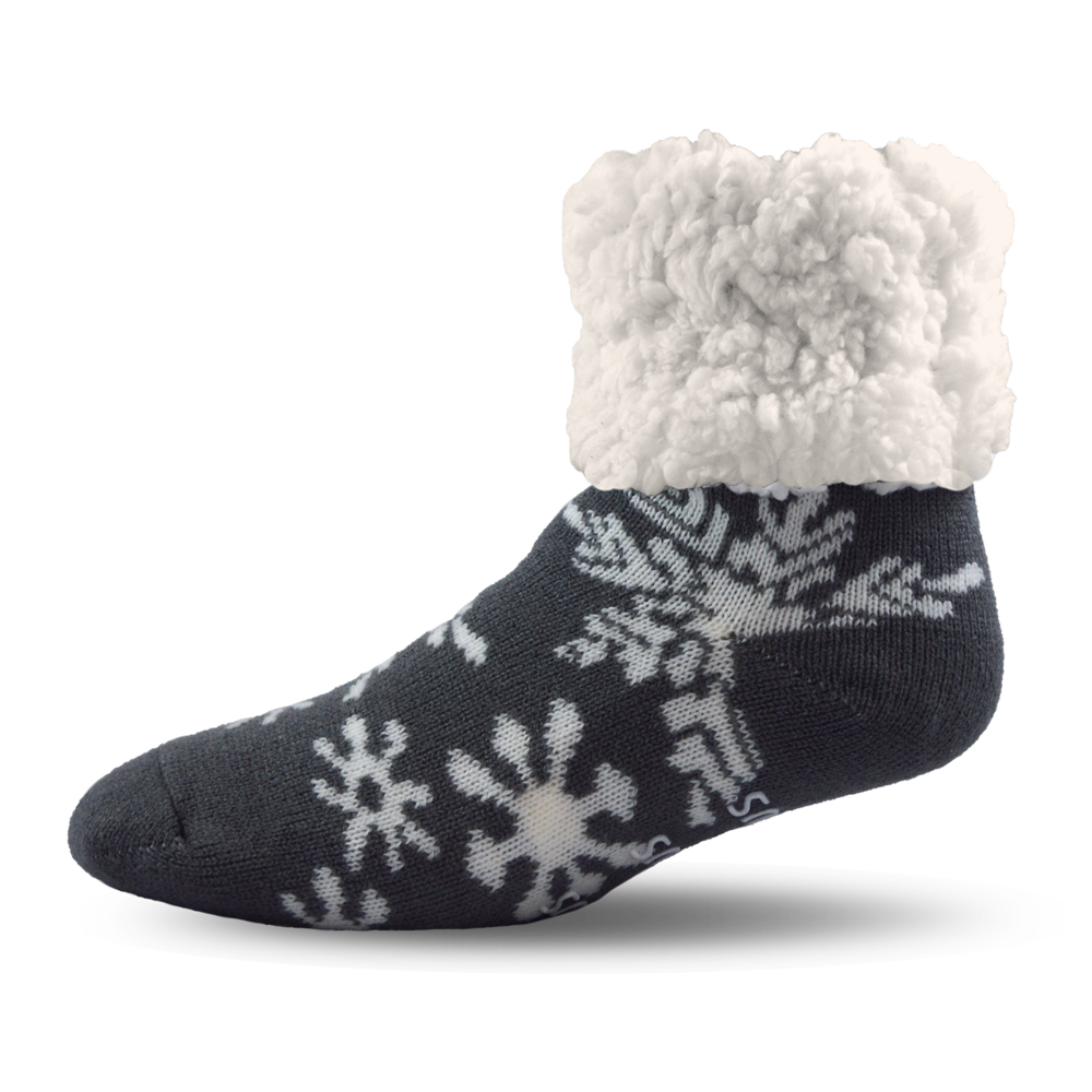 Pudus Slipper Socks - Snowflake Grey - Lounge Beauties