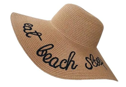 Wide Brim Embroidered Straw Sun Hat in Khaki - Lounge Beauties