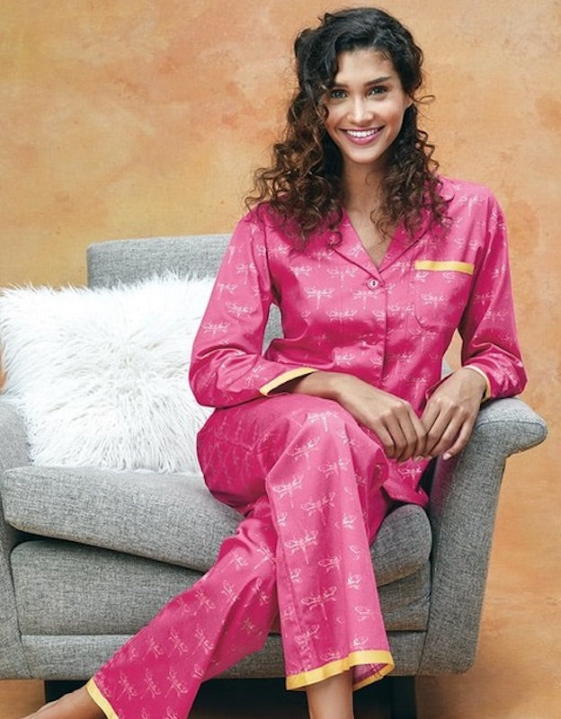 BedHead Dragonfly Sateen Ribbon Classic PJ Set - Lounge Beauties