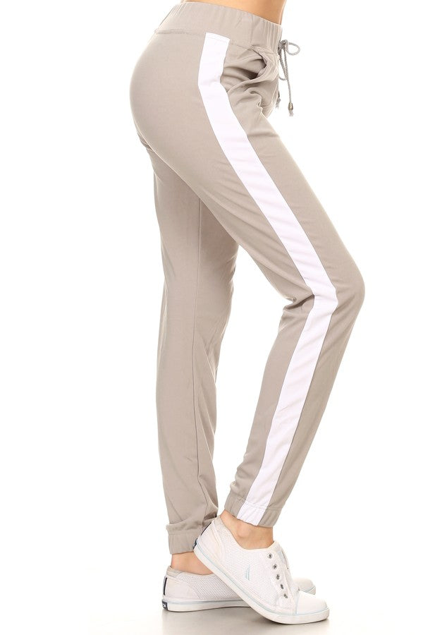 Racer Striped Jogger Pant in Light Grey - Lounge Beauties