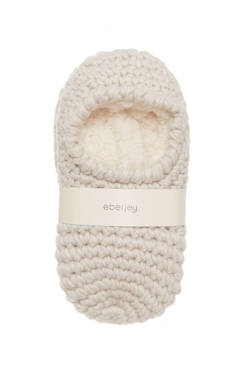 Eberjey Wide Knit Ankle Slipper Socks in White Sand - Lounge Beauties