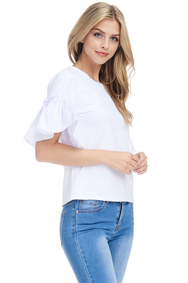Casual white Tee with Bell Sleeves - Lounge Beauties