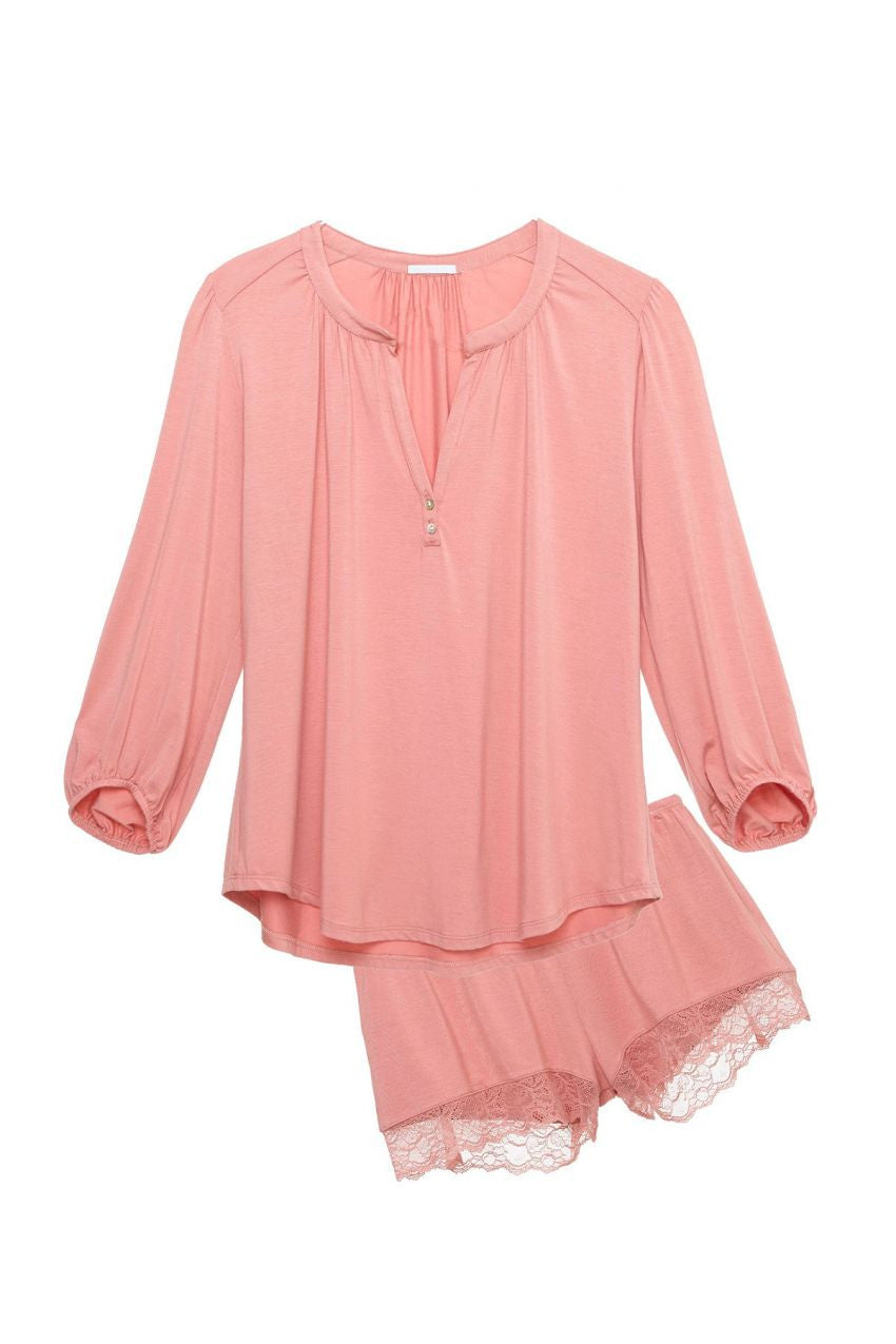 Eberjey Catalina Long Sleeve Short PJ Set
