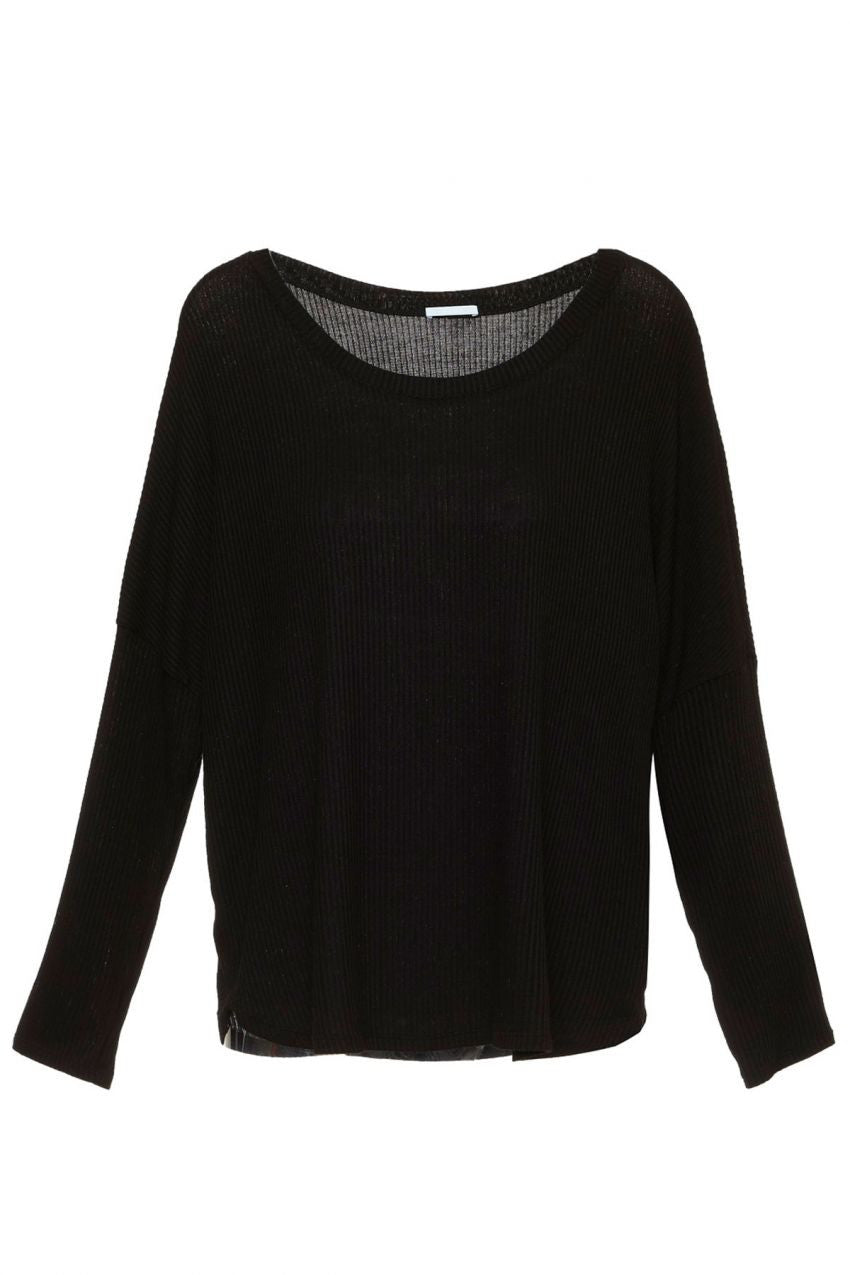 Eberjey Elon Long Sleeve Tee in Black - Lounge Beauties