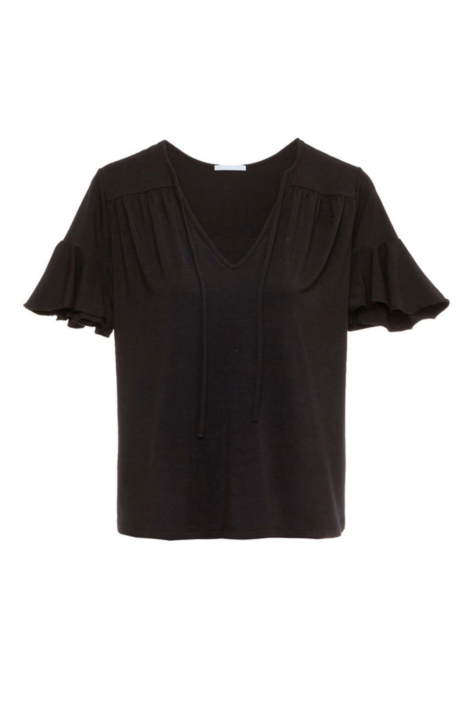 Eberjey Ivy Flounce Top in Black - Lounge Beauties