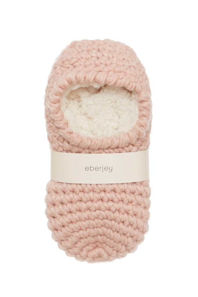 Eberjey Wide Knit Ankle Slipper Socks in Rose Smoke - Lounge Beauties