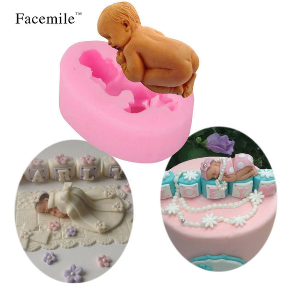 3D Fondant Silicone Mold Sleeping Baby Cake Decorating Tool.
