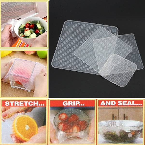 New! 4pcs Multifunctional Silicone Food Wraps Seal Vacuum Cover Lid Stretch