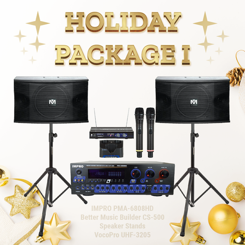 Holiday Package #01: ImPro PMA-6808HD + Stands + BetterMusicBuilder CS-500 + VocoPro Microphone System