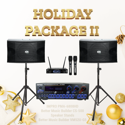 Holiday Package #05: ImPro PMA-6808HD + Hard-Drive Player + BetterMusicBuilder CS-500 + VM52U G5 + Stands