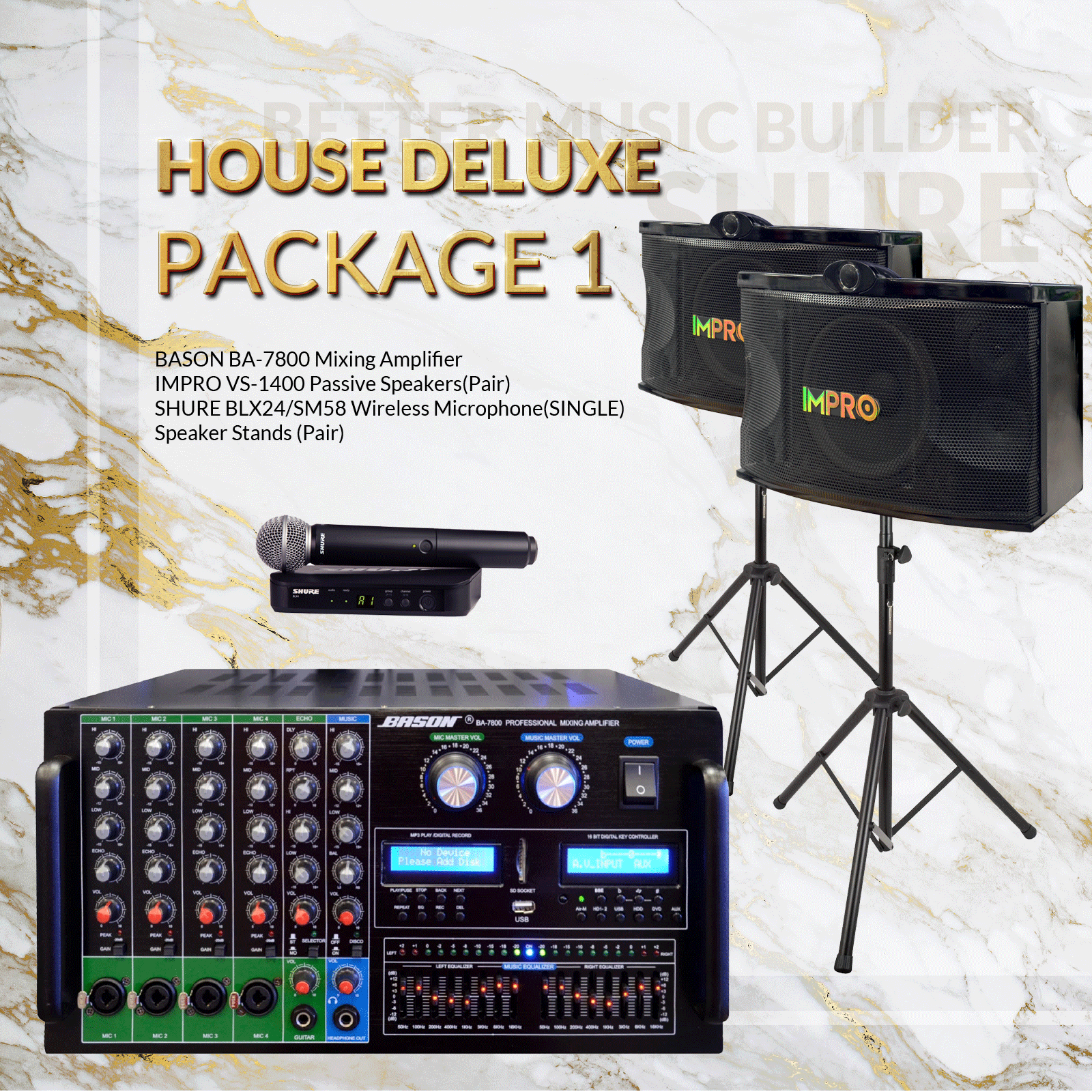 House DLX Package #01: Bason BA-7800 + ImPro VS-1400 + Stands + Shure BLX Microphone System