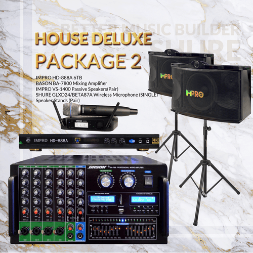 House DLX Package #02: Bason BA-7800 + ImPro VS-1400 + Stands + Shure GLXD Microphone System