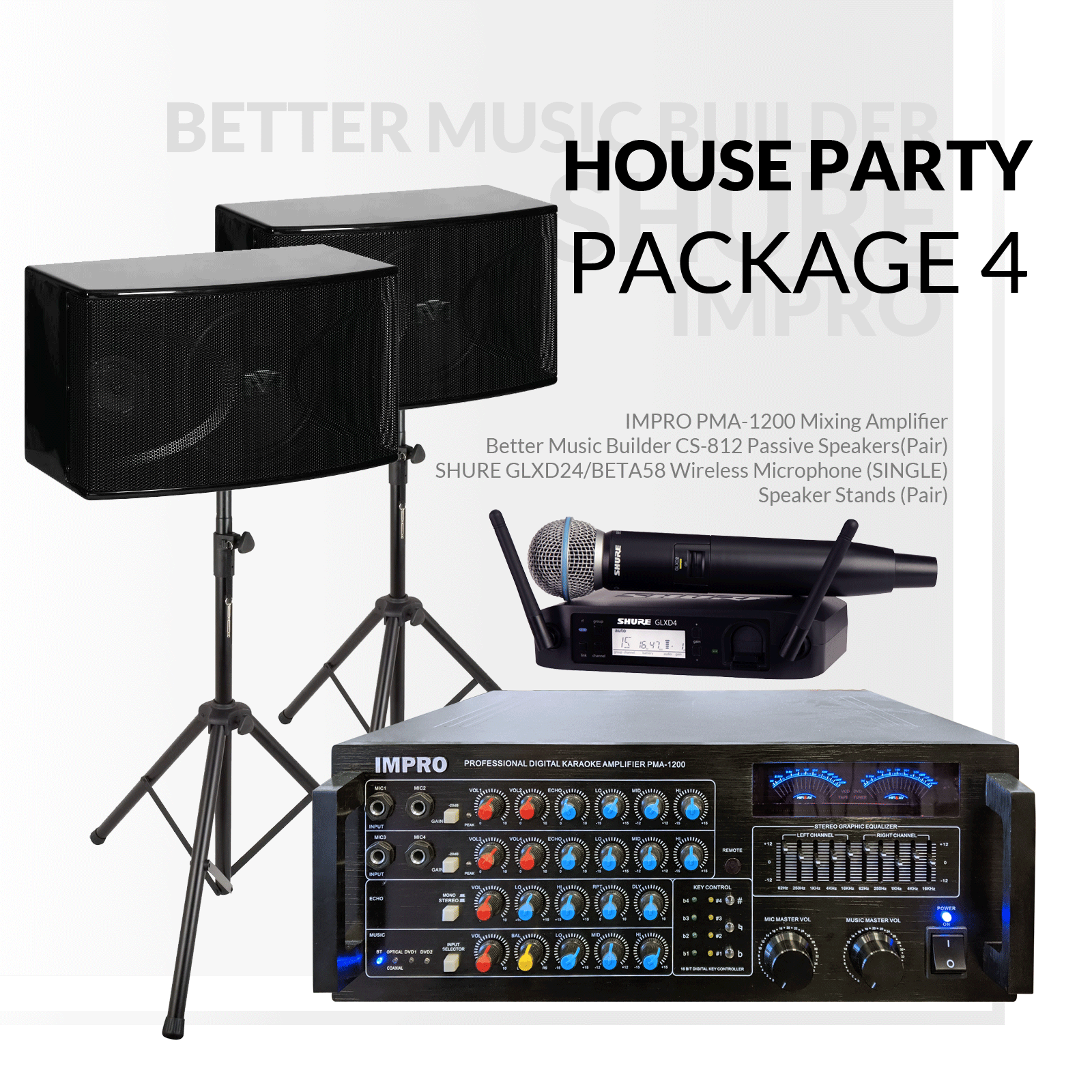 House Party Package #04: ImPro PMA-1200 + HD-888A (6TB) + BetterMusicBuilder CS-812 G3 + Stands + Shure GLX Series Microphone