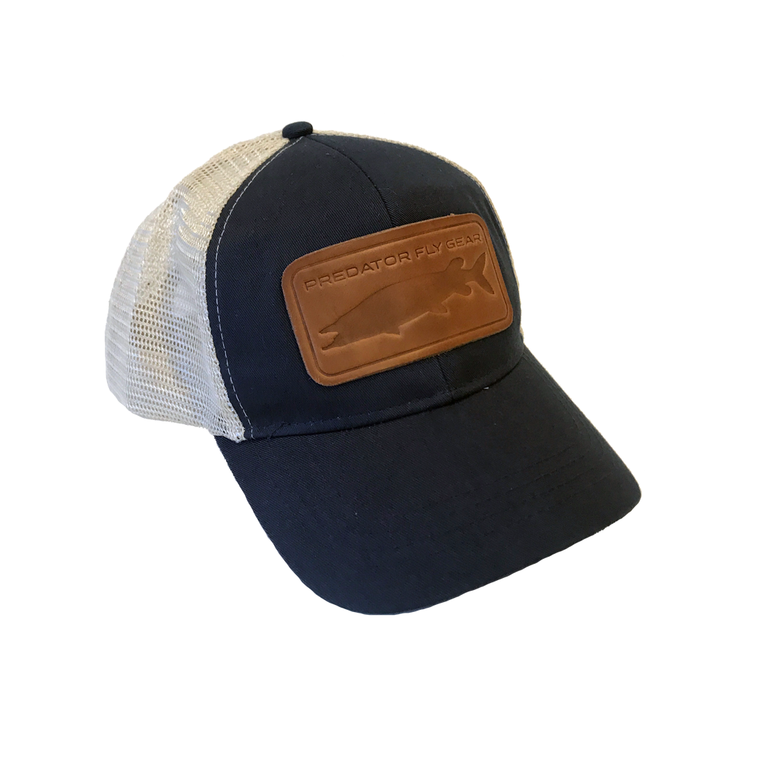 Navy Muskie Leather Patch Snapback