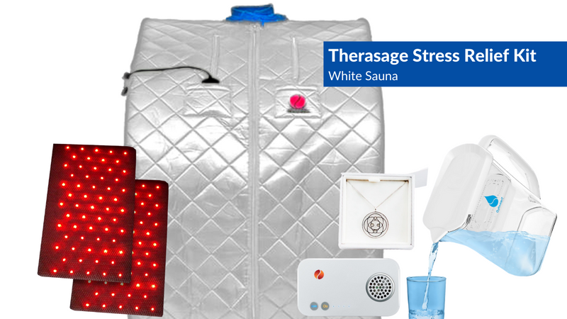 Therasage Stress Relief Kit Thera360 Plus White includes TheraO3 Ozone Module, TheraH2O Cellular Hydrating Water Pitcher & TheraProtect EMF Remediating Harmoni Pendant
