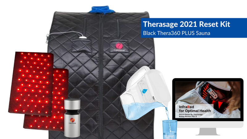 Therasage 2021 Reset Kit Includes Thera360 Plus Black Full Spectrum Infrared Personal Sauna, TheraH2O Cellular Hydrating Water Pitcher, TherAroma Portable Essential Oil Atomizer, and our Infrared for Optimal Health Sauna Guide