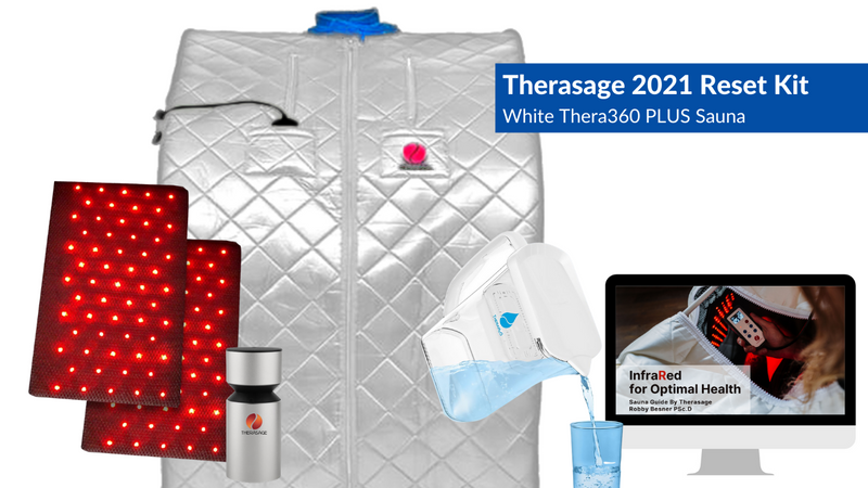 Therasage 2021 Reset Kit Includes Thera360 Plus White Full Spectrum Infrared Personal Sauna, TheraH2O Cellular Hydrating Water Pitcher, TherAroma Portable Essential Oil Atomizer, and our Infrared for Optimal Health Sauna Guide