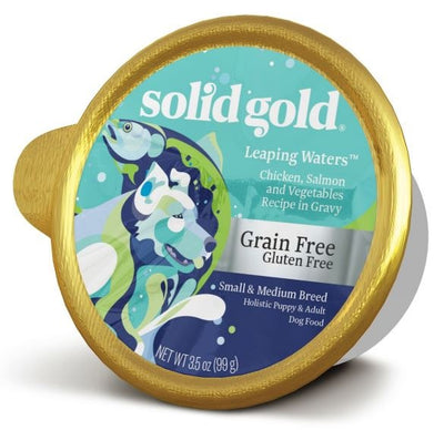 Solid Gold Grain Free Leaping Waters Small and Medium Breed with Chicken and Salmon Wet Dog Food Dog Food Tray