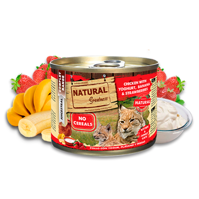 Natural Greatness chicken with yoghurt, banana and strawberries 200gr - PETTER