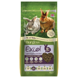 Burgess Excel Adult Rabbit LIGHT nuggets with mint 2kgs - PETTER
