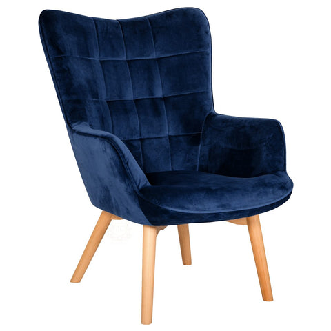 Charlton Velvet Upholstered Accent Chair, blue | JLC Furniture