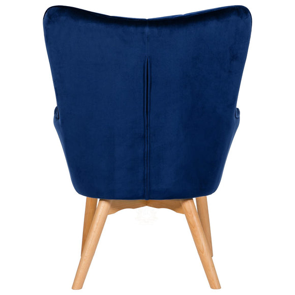 Charlton Velvet Upholstered Accent Chair, blue - rear | JLC Furniture