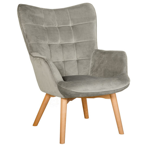 Charlton Velvet Upholstered Accent Chair, grey | JLC Furniture