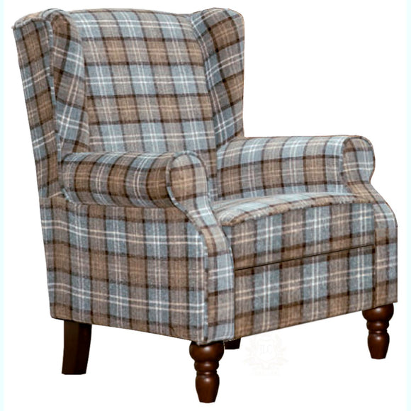 Evelyn Tartan Fabric Accent Chair, Dove-grey | JLC Furniture