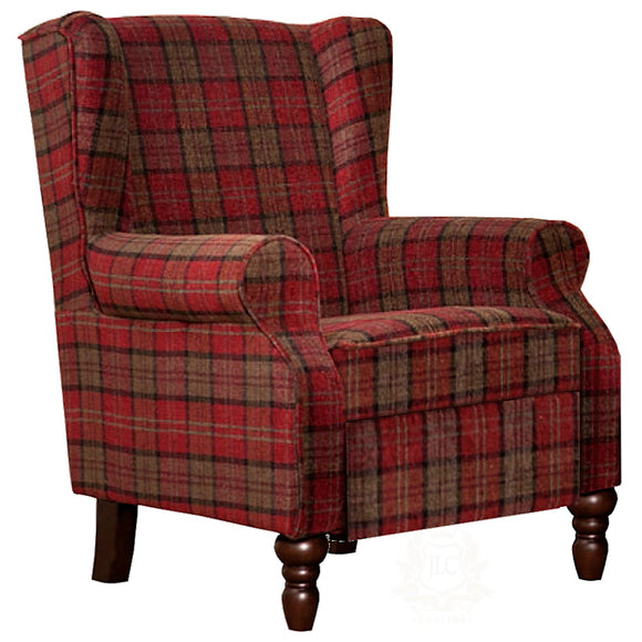 Evelyn Tartan Fabric Accent Chair, red Claret | JLC Furniture