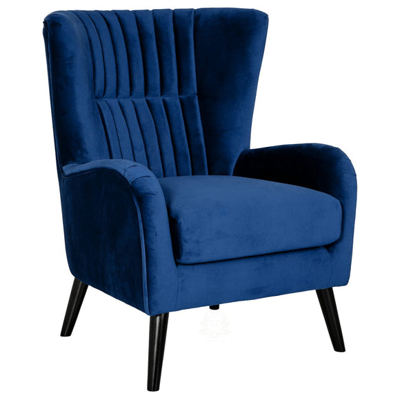 Lila Velvet Upholstered Accent Chair, Blue | JLC Furniture