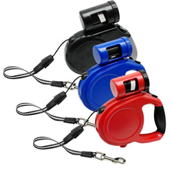 Retractable Dog Leash With Bag Dispenser For Small Medium Large Dogs