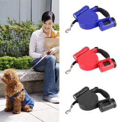 Retractable Dog Leash with LED Lights and Dog Waste Bag
