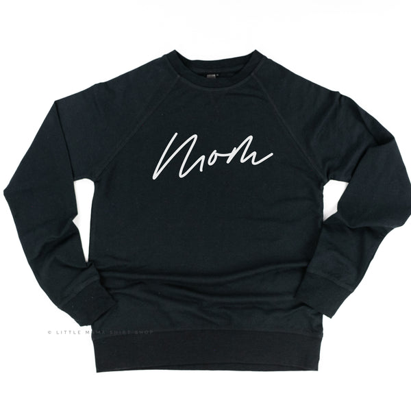Mom (Cursive) - Basics Collection - Lightweight Pullover Sweater