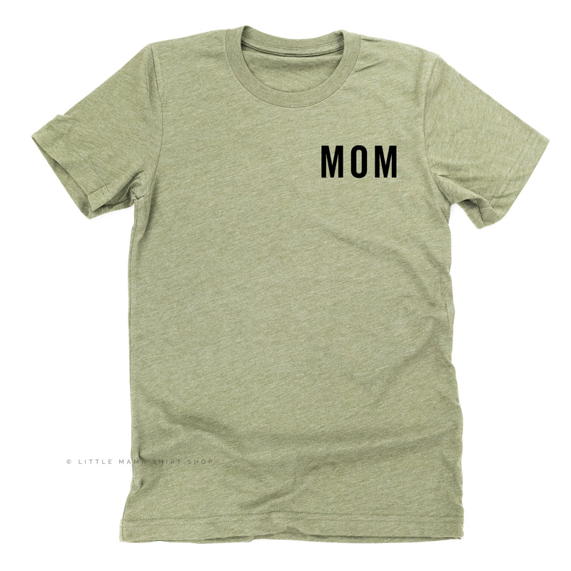 Mom (Pocket Size - Block Font) - Basics Collection - Unisex Tee