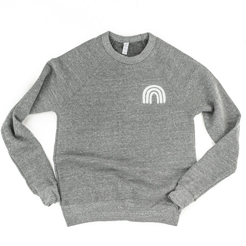 RAINBOW - Embroidered Fleece Crewneck Sweater - Gray Color