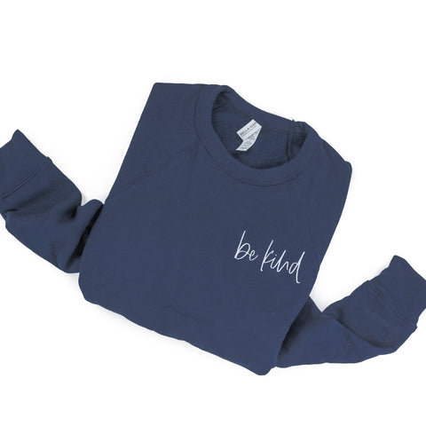 BE KIND - Embroidered Fleece Crewneck Sweater - Navy Color