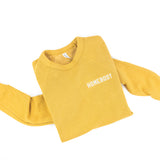 HOMEBODY- Embroidered Fleece Crewneck Sweater - Mustard Color