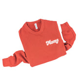 Mama (Retro)-  Embroidered Fleece Crewneck Sweater - Brick Color