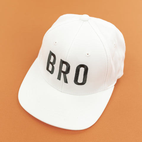 BRO (White) - Child Size - Flat Brimmed Hat