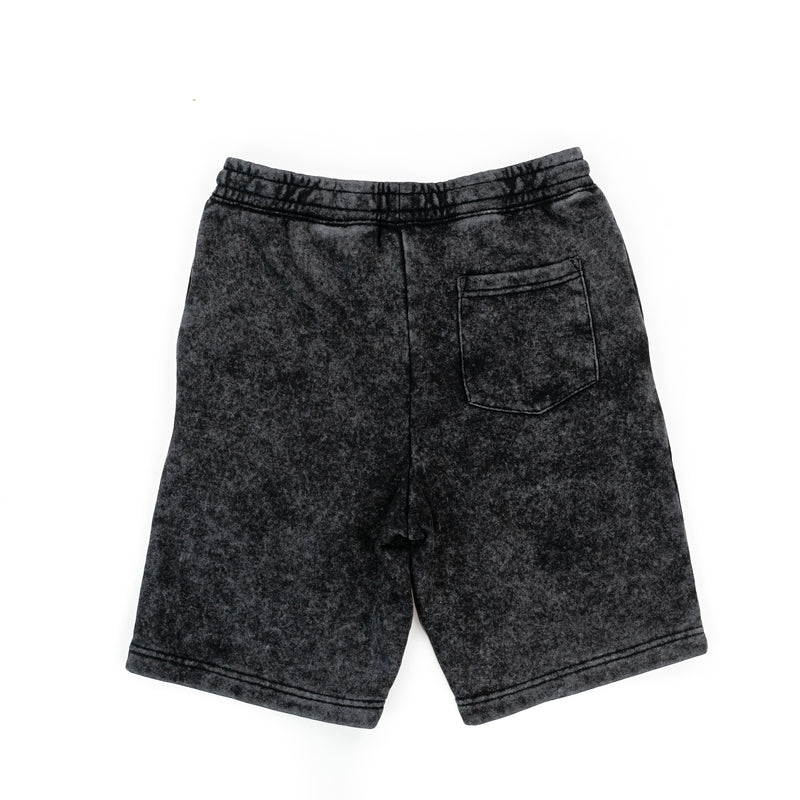 LMSS SWORTS - (JOGGER SHORTS) - BLACK (ACID WASH)