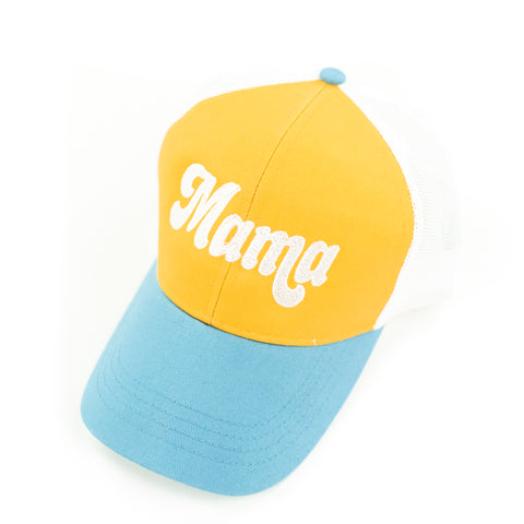 Mama - Retro Trucker Hat - Blue+Yellow