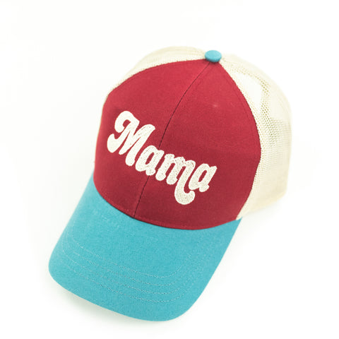 Mama - Retro Trucker Hat - Maroon+Blue