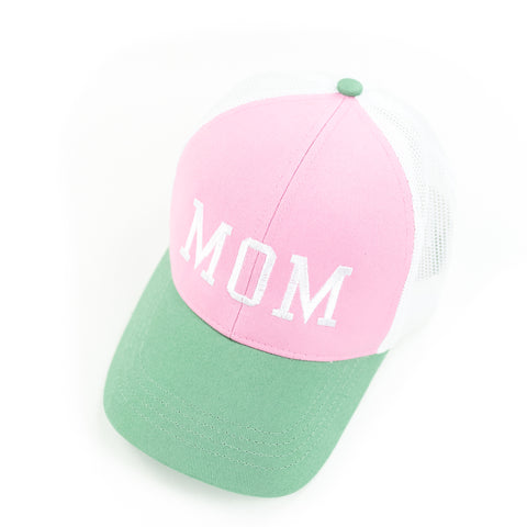 Mom - Retro Trucker Hat - Pink+Green