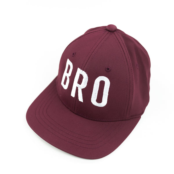 BRO (Maroon) - Child Size - Flat Brimmed Hat