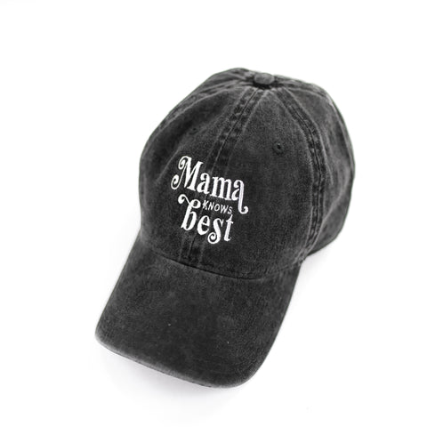 Mama Knows Best - Heather Black Baseball Cap