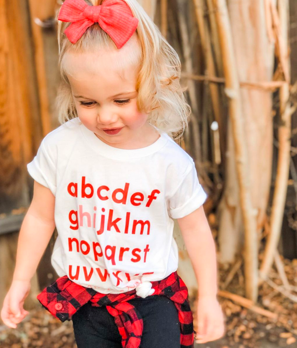Hi, Let's Be Friends - Alphabet Design - Short Sleeve Child Tee