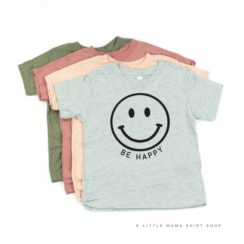BE HAPPY - SMILEY FACE (BLACK OR WHITE SMILE) - Short Sleeve Child Shirt