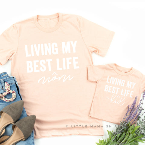 Living My Best Kid/Mom Life | Set of 2 Shirts (Blush w/ White)