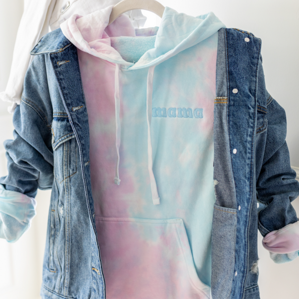 Cotton Candy Skies - Embroidered Tie-Dye Hoodie